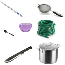 STEP 1 | Line up Your Tools: Secure a very tall pole, garden hose, machete, large bowl, large soup pot,